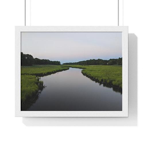 Premium Framed Horizontal Poster (Canal on Breakwater Junction)