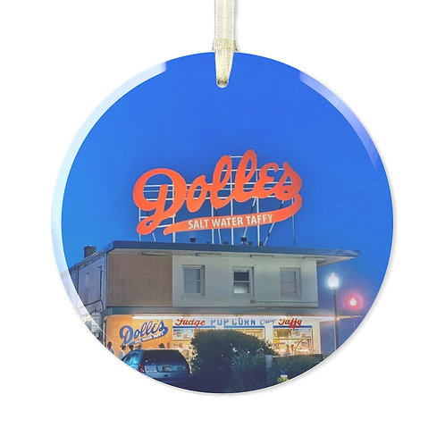 Dolles at Night Glass Ornament