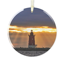 Sunset at the Inner Wall Glass Ornament