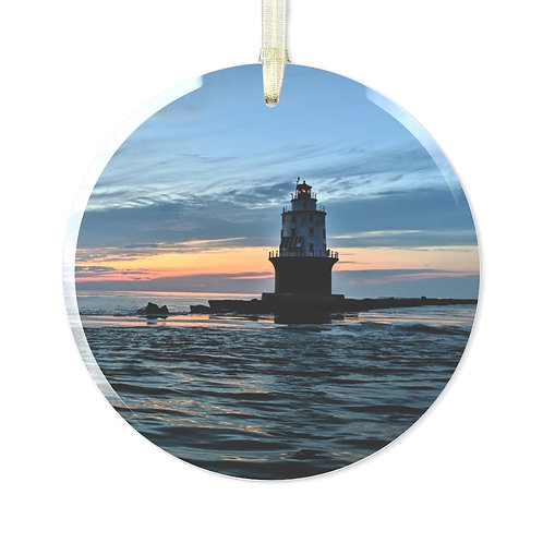 Harbor of Refuge Lighthouse Glass Ornament
