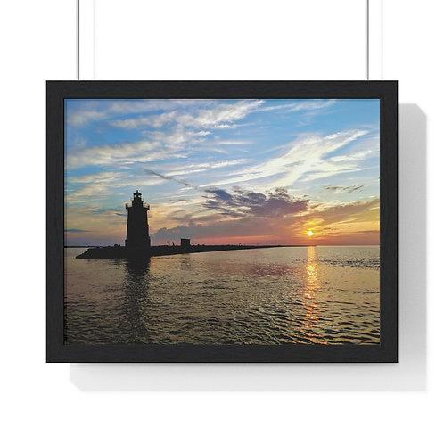Premium Framed Horizontal Poster (East End Lighthouse, Delaware Breakwater)