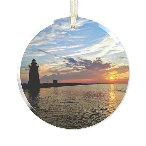 East End Lighthouse Glass Ornament