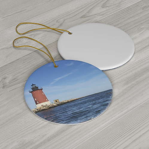 Round Ceramic Ornament (Lighthouse with dolphin)