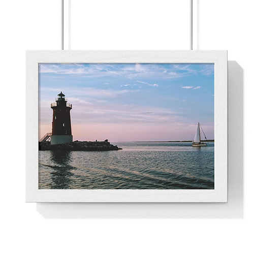 Premium Framed Photograph (East End Lighthouse w/ Sailboat)