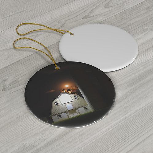 Round Ceramic Ornament (Townsend Barn at Harvest Moon)