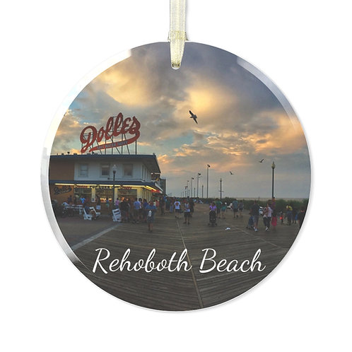 Rehoboth Boardwalk Glass Ornament