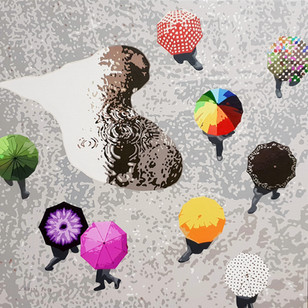 6_Flowers in the rain_Acrylic on canvas_