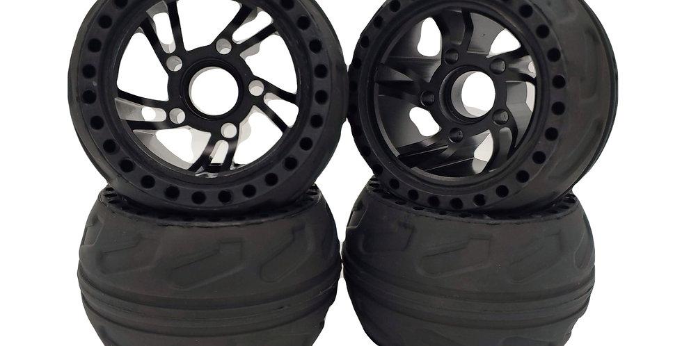 Anodized black 105mm rubber wheel