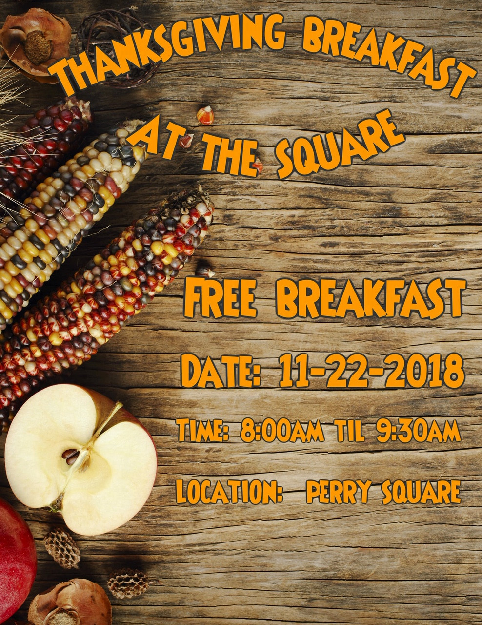 Free breakfast on Thanksgiving in Perry Square, Erie, PA