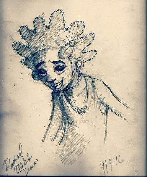 Amir Sketch Portrait Art Print
