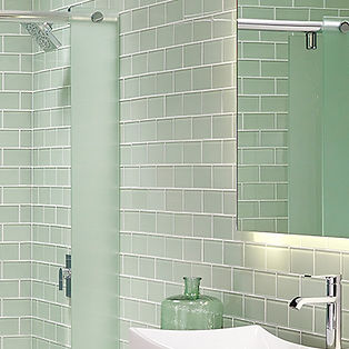 Green Glass Bathroom Remodel