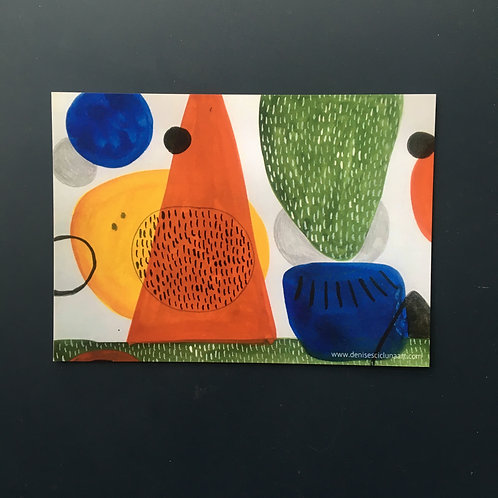 "Abstract shapes postcard (7x5"")"
