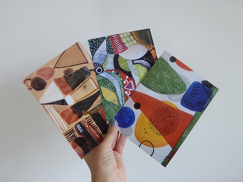 "Set of 3 postcards (7x5"")"