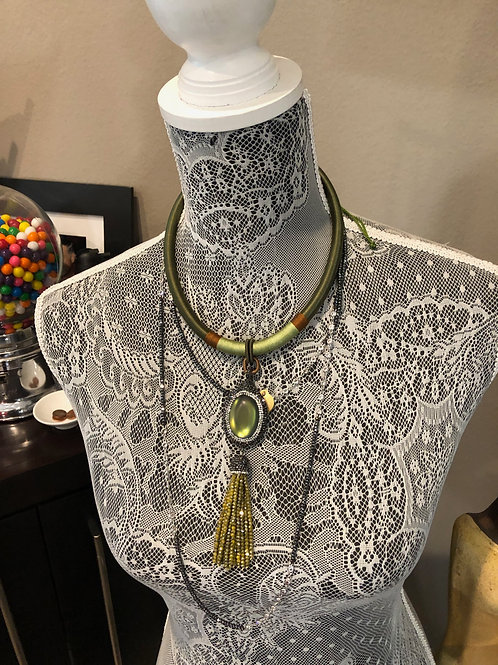Olice Silk Cord with Enhanced Jeweled Green Pendant and Tassle