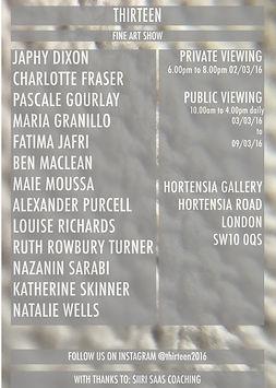 Invite for Thirteen Fine Art Show