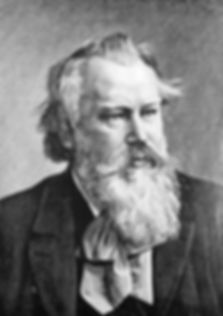 Composer Johannes Brahms. Engraving on s