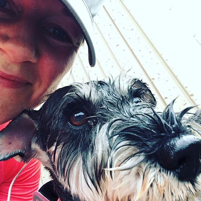 My little running buddy and I post run and soaking wet! Yeah!
