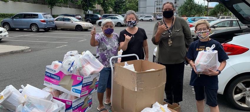 Delivery of care packages to kupuna residents at Hale Mohalu in Pearl City