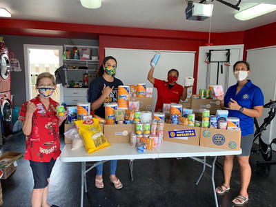 Preparring care packages to be distributed to Hale Mohalu senior residence in Pearl City