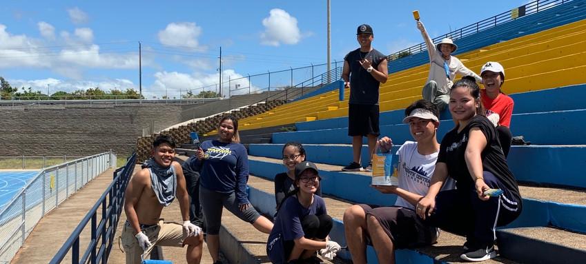 Painting Waipahu High School Football Stadium