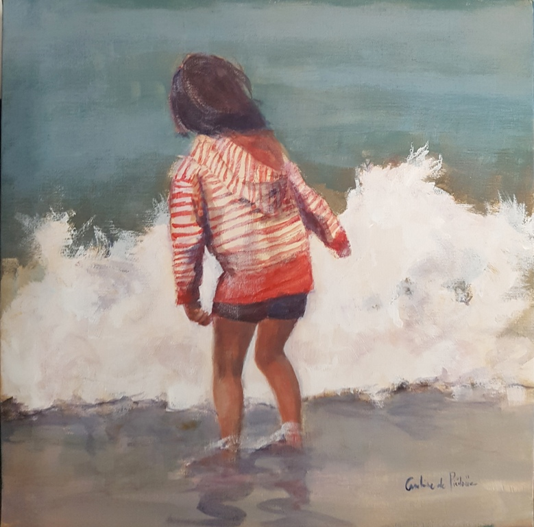 la fillette et la vague, 50X50cm