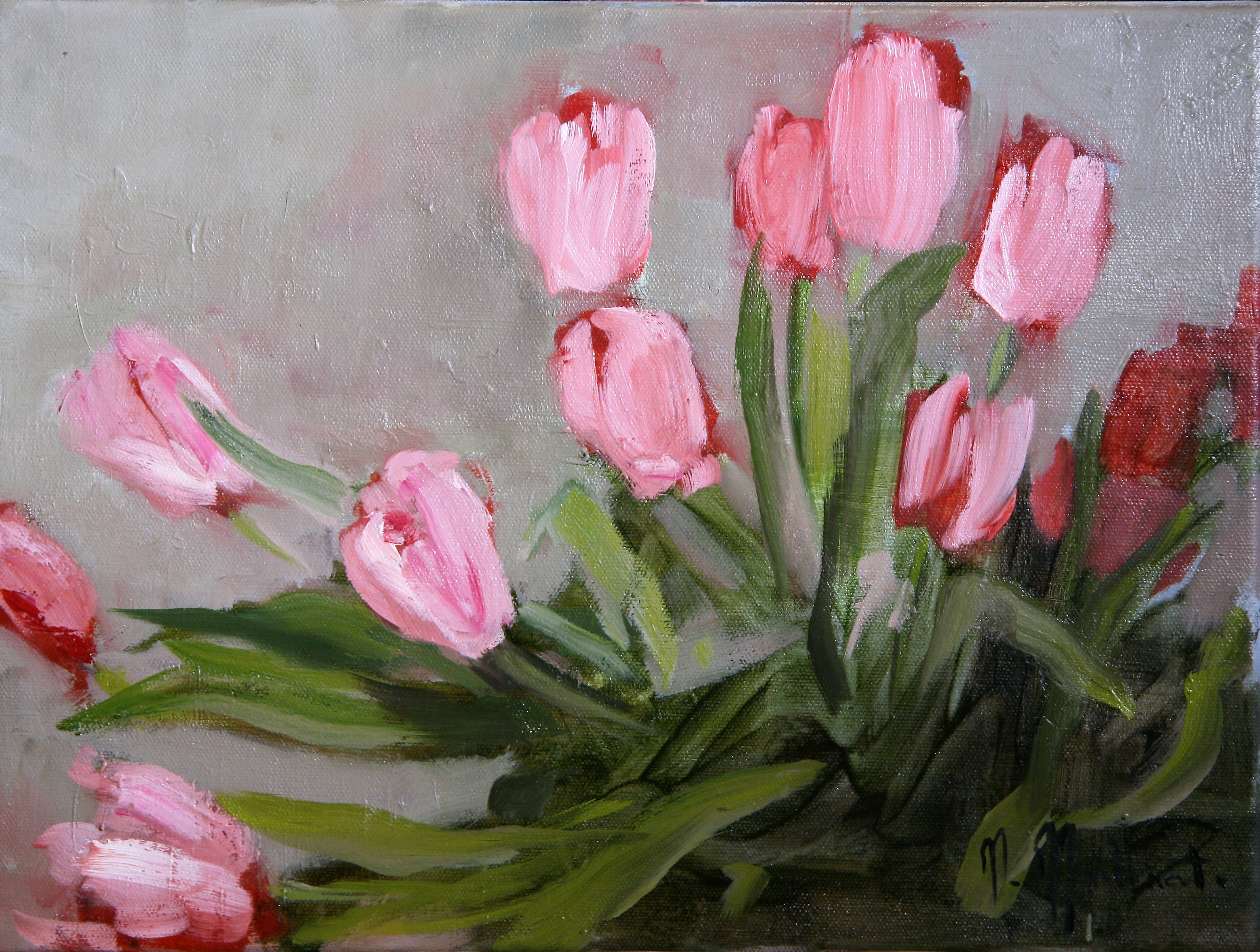 Les tulipes rouges, 30x40cm