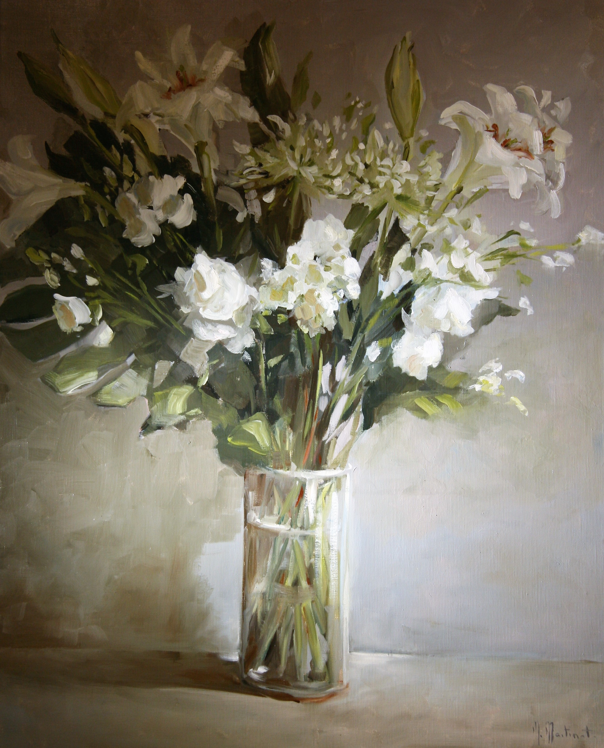 Le grand bouquet blanc, 100x80cm
