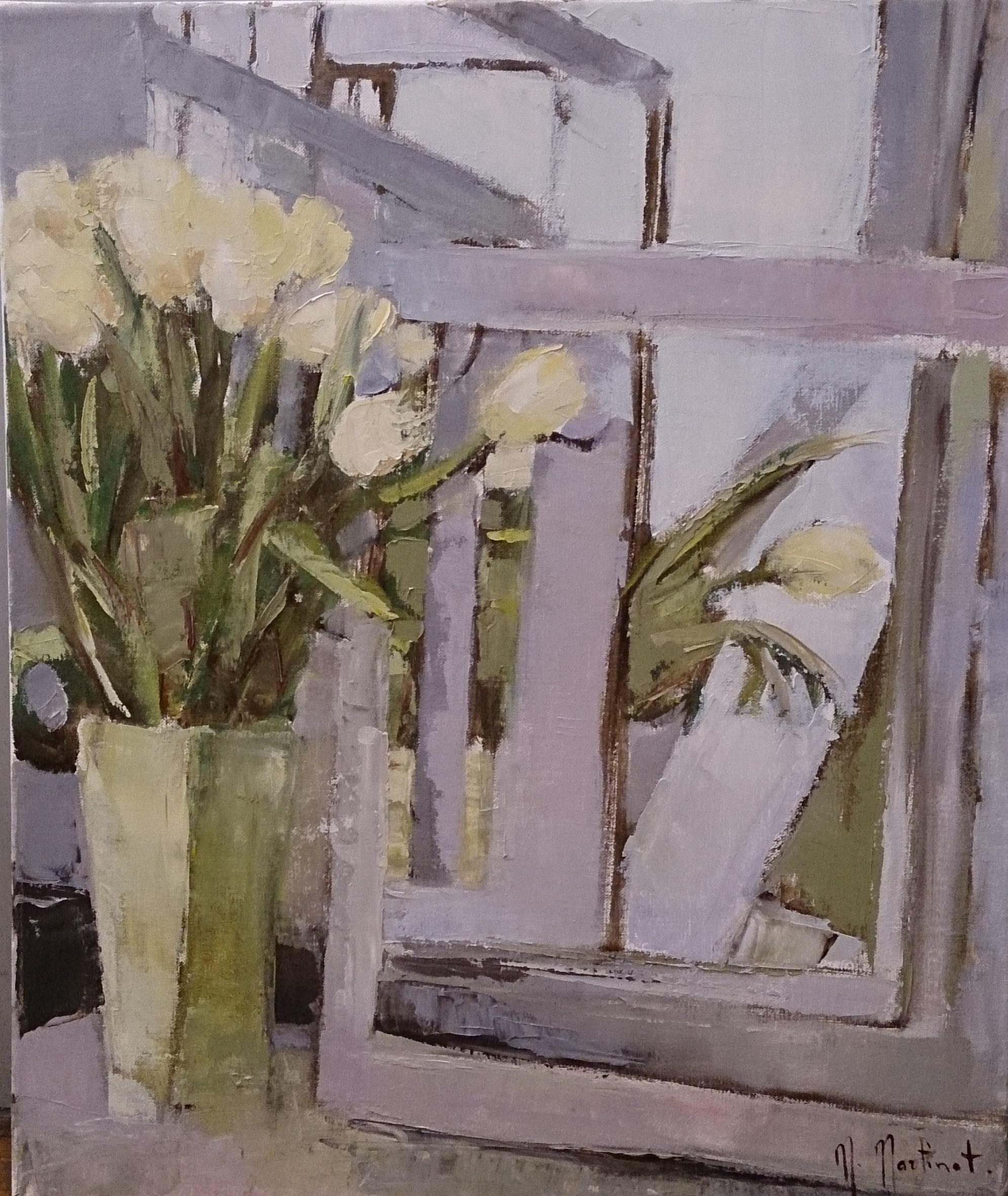 Tulipes jaunes au miroir, 46x38cm