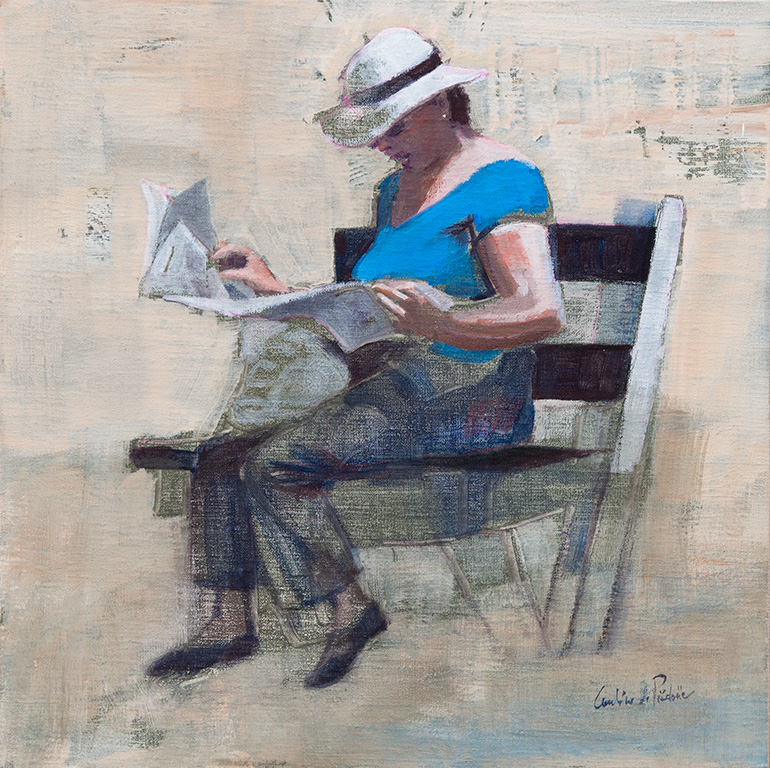 Irina au journal, 40X40cm