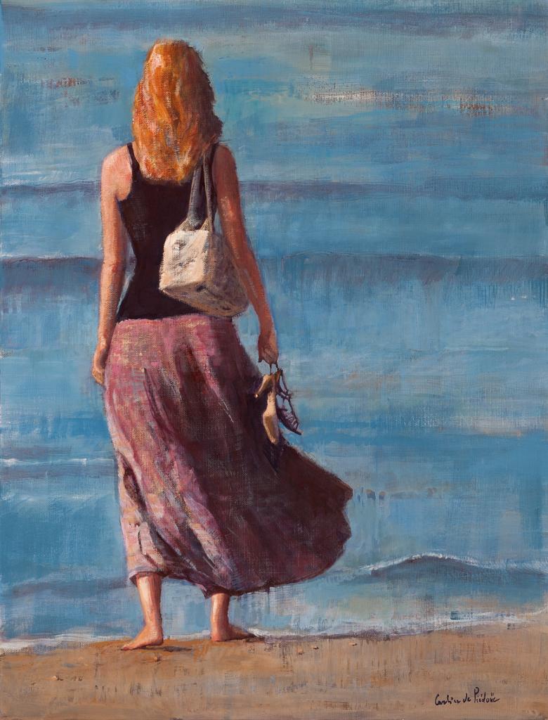 la jeune femme et la mer, 65X50cm