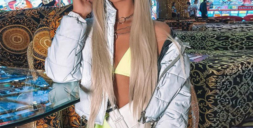 Silver Translucent Cropped Bomber