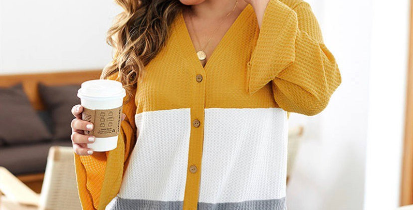 Curvy Grey Yellow White Knit Cardigan