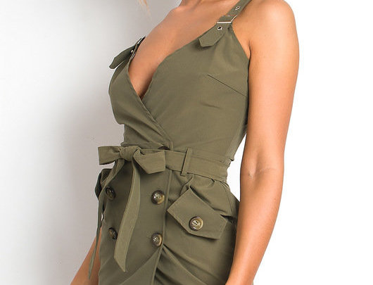 Army Green Tie Up Dress