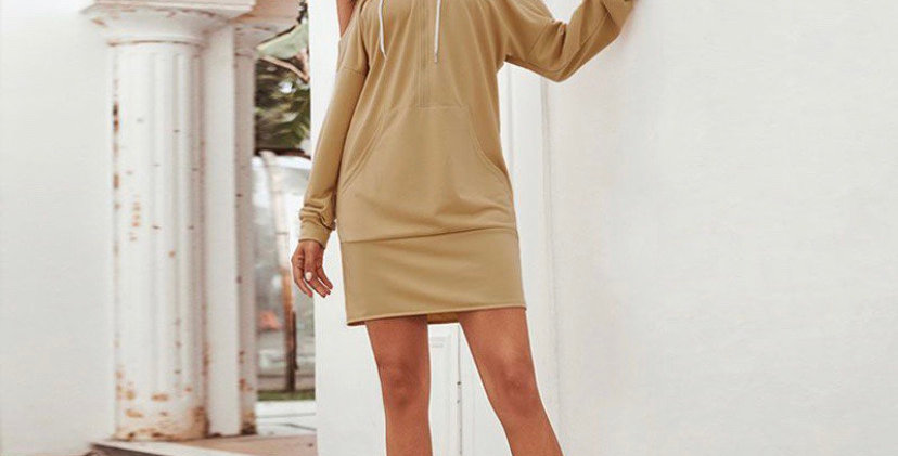 Cut Out Shoulder Hoodie Dress