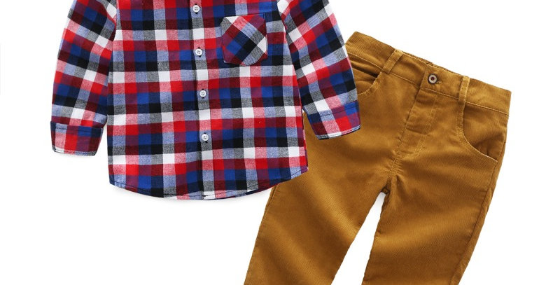 Boy's Plaid Shirt and Pants Set