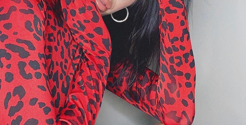 Leopard Print Gloved Bodysuit