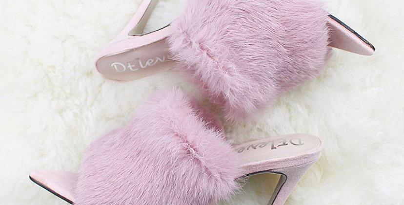 Pink Collection Pastel Pink Fur Pumps