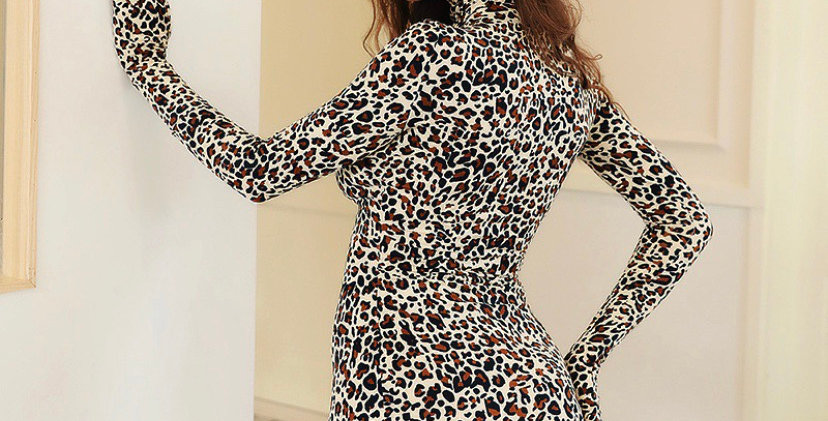 Cheetah Glove Sleeve Dress