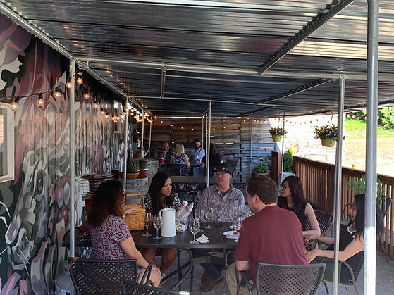 Group Tasting Experience on the Patio at Forgeron Cellars in Woodinville, Washington