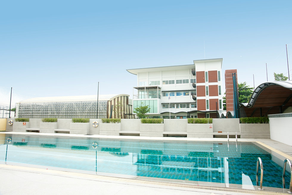 international school, swimming pool, gym, blue sky
