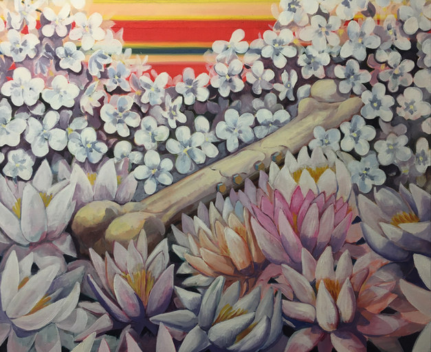 """With Wonder Woman on the horizon, the national flowers of India and Pakistan cushion the leg bone of Evel Knievel.""  2020 oil on linen 24x30"""