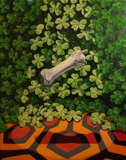 """The toe bone of Neil Armstrong propagates luck and conspiracy.2021 oil on linen 18x24"""""""