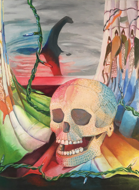 """Cradled within the Bayeux Tapestry, Damien Hirst's skull is plucked of all its diamonds.""  2020 oil on linen  22x30"""