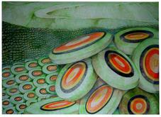 great wall of aquamen - colored pencil on paper
