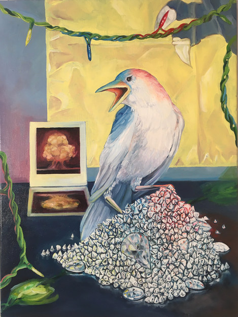 """""""A Qing banner, a Polaroid of the first atomic bomb and Apollo as a white crow guard the diamonds plucked from Damien Hirst's skull.""""  2020 oil on linen 22x30"""