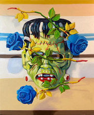 """The national flowers of Iran, Iraq, and the Czech republic in the colors of Marge Simpson obscure my second Halloween mask and a hero from far far away. 2021 oil on linen 20x24"""""""