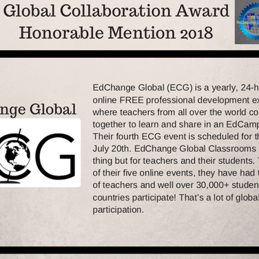 ISTE Global Collaboration Award: Honorable Mention 2018