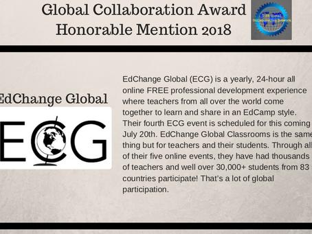 ISTE has awarded EdChange Global with Honourable Mention Award 201