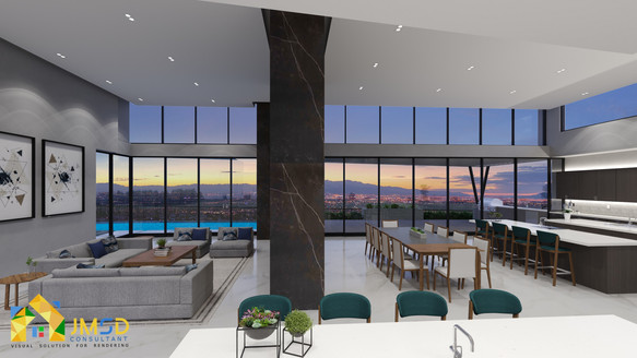 BEAUTIFUL CITY NIGHT VIEW LIVING AREA CUM DINING KITCHEN 3D INTERIOR RENDERING LONG BEACH , CA
