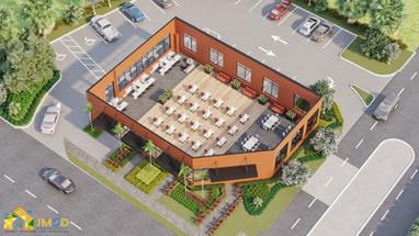 Site Floor plan rendering with landscape details USA